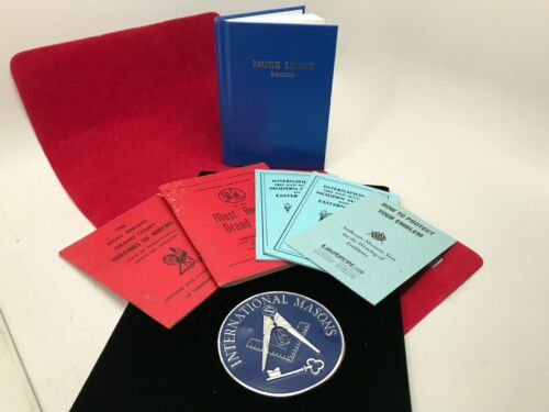 LOT Vintage International Free Masons Masonic Books and enamel metal emblem