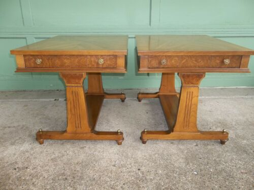 Matching Pair of Vintage Mid Century French Regency Single Drawer End Tables
