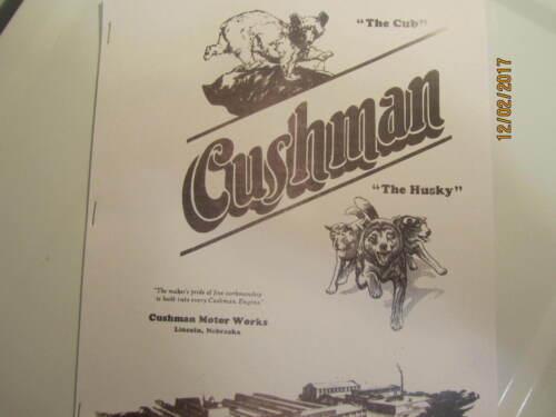 Cushman Motor Works Cub & Husky Gas Engine  Catalog All sizes