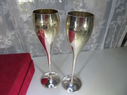 International Company Silver Plated Set of 2 Flutes Champagne Art Deco India