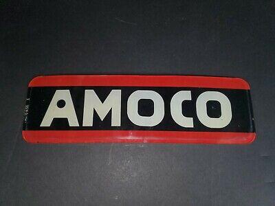 "Vintage AMOCO Glass Gas Pump Sign - 11"" x 3.75"""