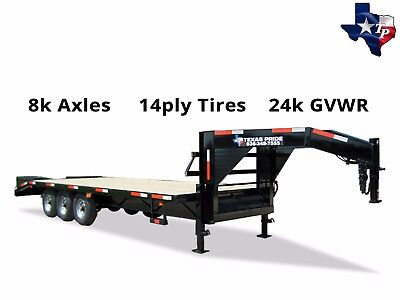 New 8 X 25 205 Gooseneck Equipment Trailer 24k Gvwr