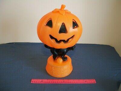 Vintage Halloween Pumpkin Cat Blow Mold Plastic Jack O Lantern Lighted
