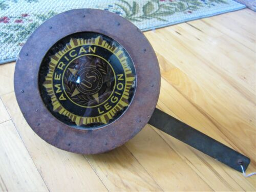 Antique AMERICAN LEGION Lighted Sign Wood Glass Industrial Veterans Iron Fixture