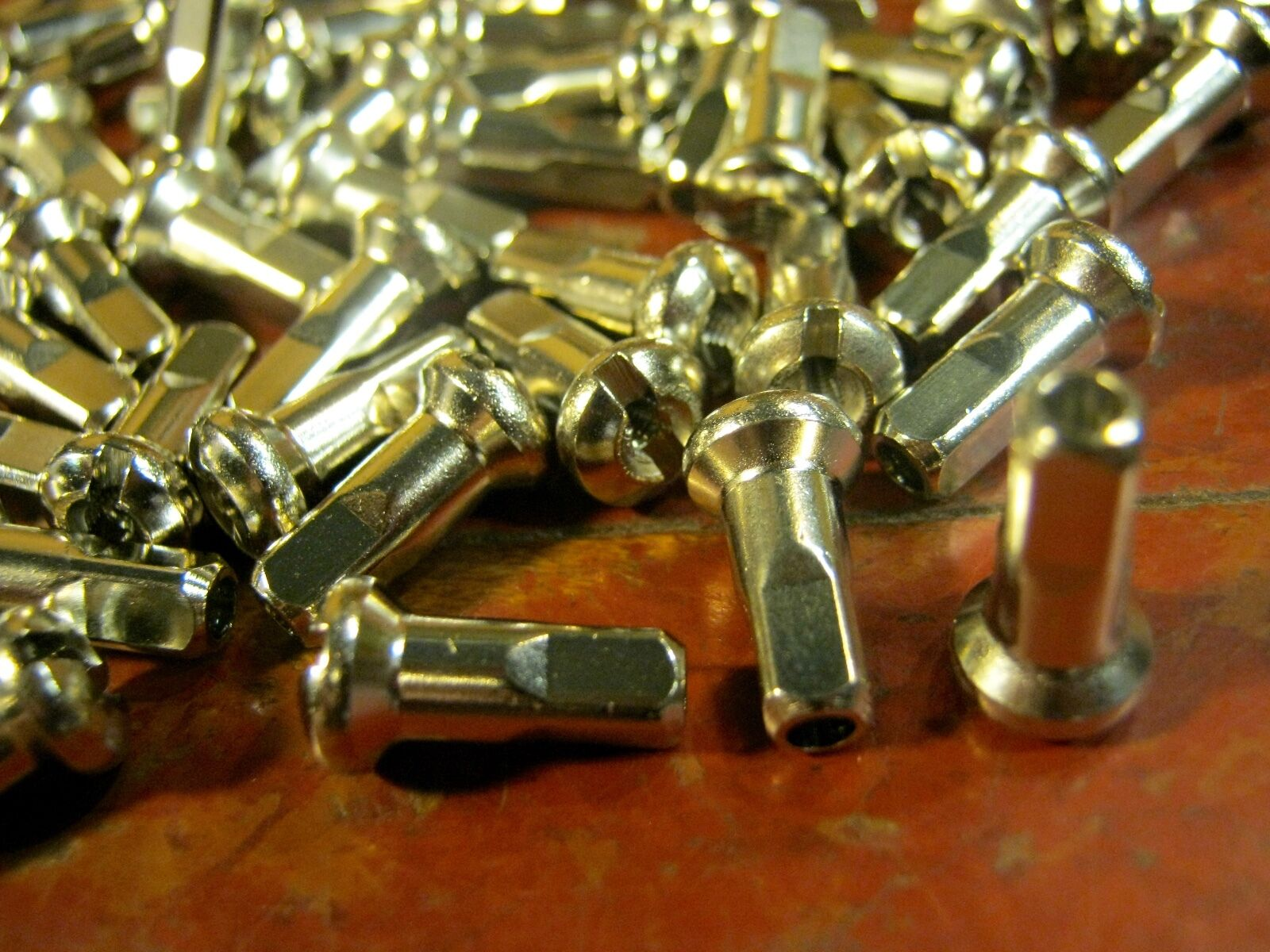 Bicycle brass spoke nipples 14G 2.0mm 100 count gauge CHROME 16mm long