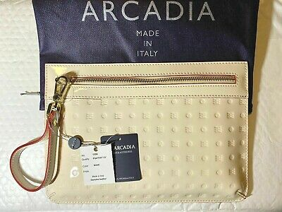 ARCADIA WRISTLET PURSE NUDE PATENT LEATHER ITALY 11.5 x 8 WITH DUST BAG NWT