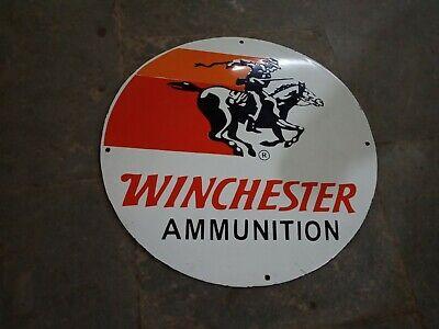 "Porcelain Winchester Ammunition Enamel Sign Size 20 "" Inches Round"