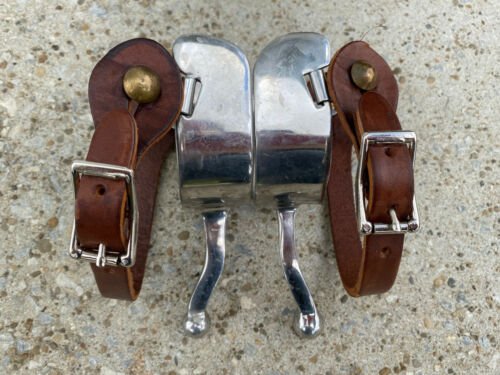 Heavy Duty Stainless Steel BALL END Western Spurs w Leather Straps