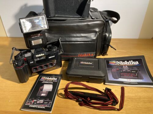 Nishika N8000 35mm 3D Stereo Film Camera with Nishika Accessories, Cleaner, Bag