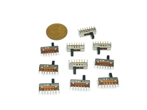 10 Pieces Slide Switch 4 Position 1P4T 6 Pin DC 50V 0.3A Vertical SS14D01 E1