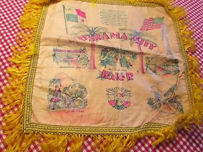 - Vintage Panama City Oil Cloth Souvenir Pillow Sweetheart Fringe The Plaza