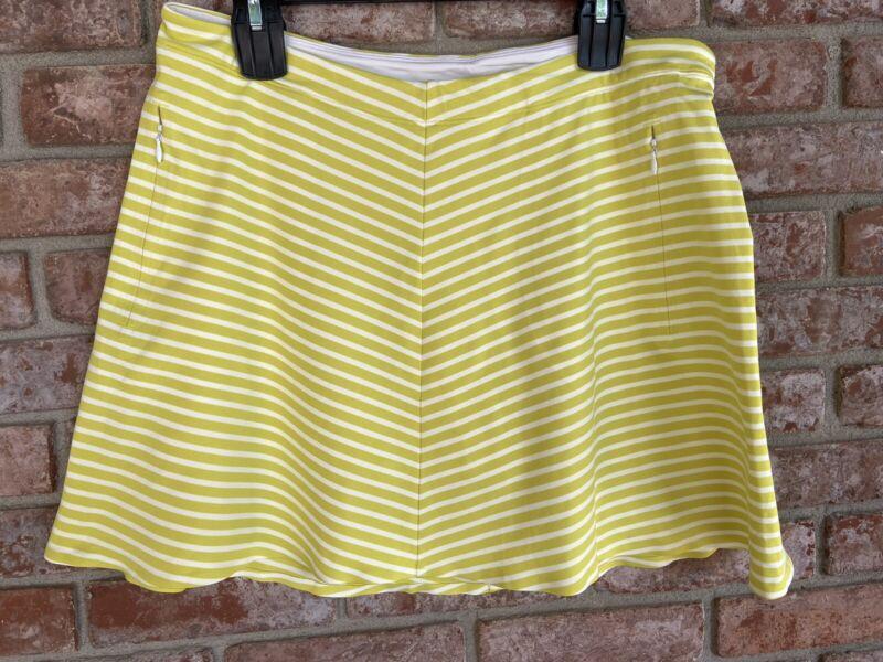Nike Womens Golf Skirt Skort Striped Green White Dri-Fit Tour Performance Large