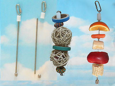 """Stainless Steel Kabob Skewer For Bird Food and Bird Toy Base  - Hangs 11"""""""