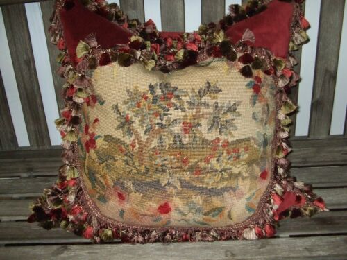 Antique Floral Needlepoint Featured On Newly Created Designer Pillow