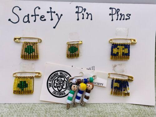 6 Girl Scout Safety Pin Pins Trefoil Emblem Handmade Crafts
