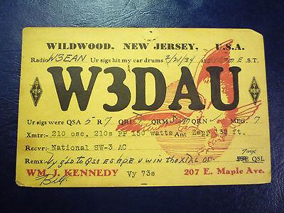 Vintage 1934 QSL Radio Card Postcard W3DAU - from WILDWOOD, NJ NEW JERSEY