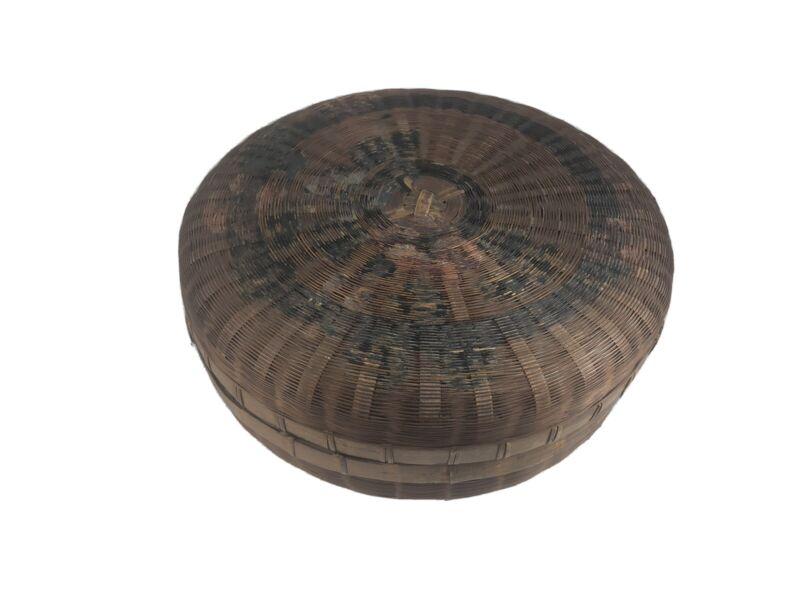 "Primitive Sewing Basket w/Lid 11-1/2x5"" Folk Art Woven Storage Footed Antique"