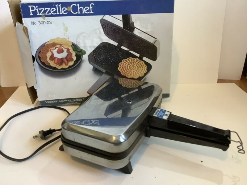 Vintage Vitantonio Pizzelle Chef 300-NS Pizzelle Maker 900 Watts With Box