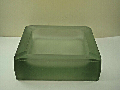 VINTAGE ASHTRAY CIGAR ash tray frosted green HEAVY GLASS 7 X 7 in block