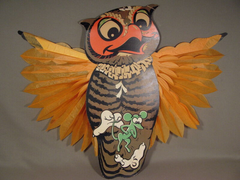 """Vintage Halloween Cardboard Owl Catching Mouse Honeycomb Wings Wall Hanging 20"""""""