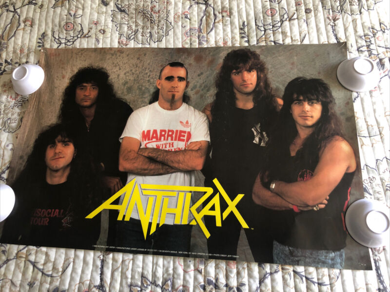 """Vintage 1989 Anthrax Band Poster. Used. Approx. 34 1/4"""" x 22 1/4."""" Free Shipping"""