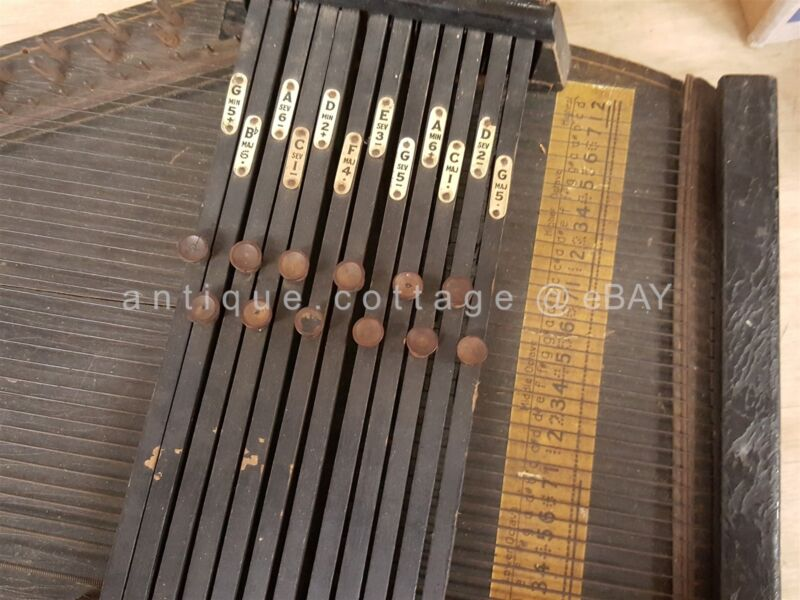 """antique ZITHER AUTOHARP old WOOD MUSICAL INSTRUMENT 22"""""""