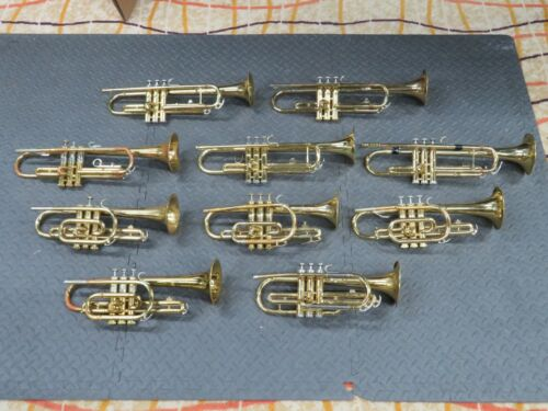 Lot of 10 Trumpets/Cornets Playing/Non Playing isi8761-2 Bundy/Olds/Conn etc