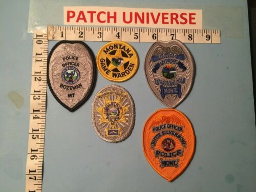 LOT OF FIVE  DIFFERENT  MONTANA  POLICE   PATCHES  O024