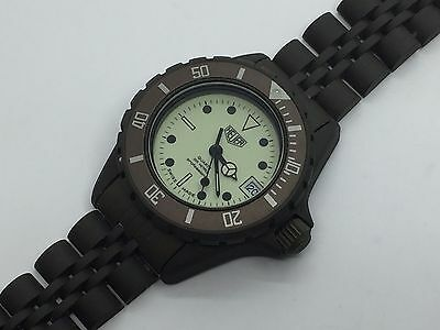 Rare! Vintage Ladies Tag Heuer Olive PVD Lume Dial 981.108 Submariner Dive Watch