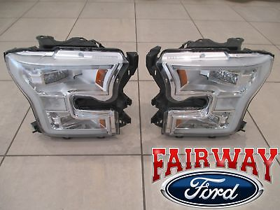15 thru 17 F-150 OEM Genuine Ford Chrome LED Head Lamps Lights - PAIR of RH & LH
