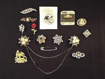 15 vintage & new pins brooches-lot-park lane-roses,rhinestone,pearls,crystals?