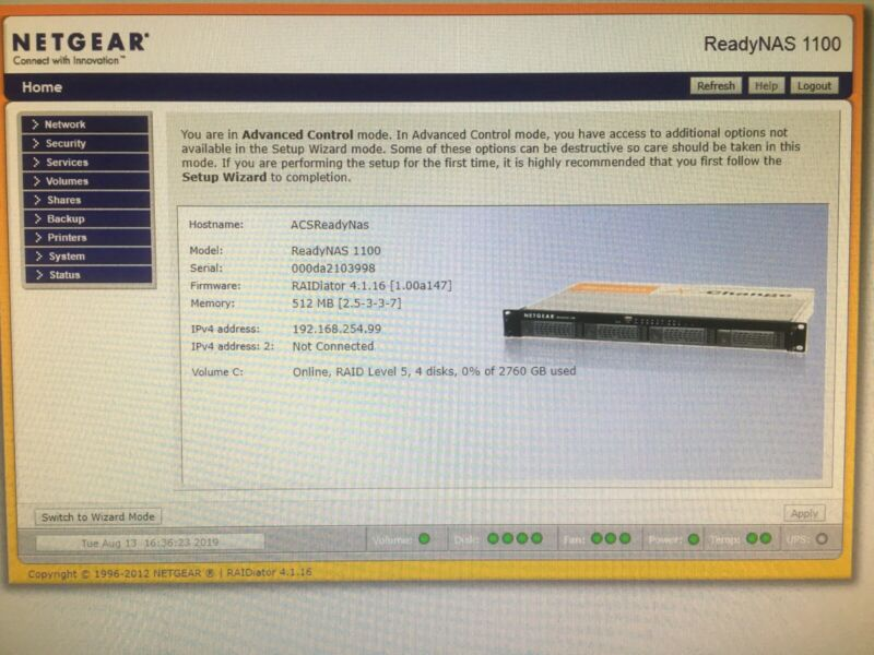 Netgear RNR4410 4TB ReadyNAS 1100 Dual Gigabit Rackmount Network Storage