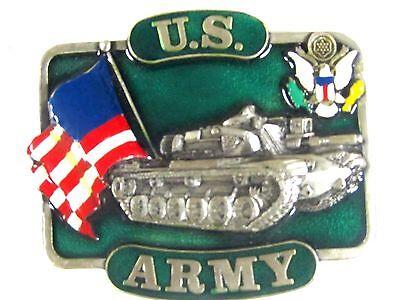 U.S. Army Tank USA Flag Belt Buckle 1982
