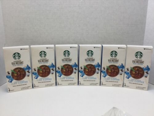 STARBUCKS VIA Instant Sweetened Iced Coffee 36 ct (6/6 ct boxes) Best By 04/2021