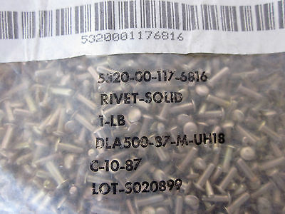 Aircraft Airplane Fasteners Rivet Solid - Part 5320-00-117-6816 New