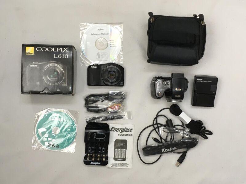 Lot of 2 Working Cameras COOLPIX L610 & KODAK EASYSHARE 10X, Zoom, 5 Mega Pixels