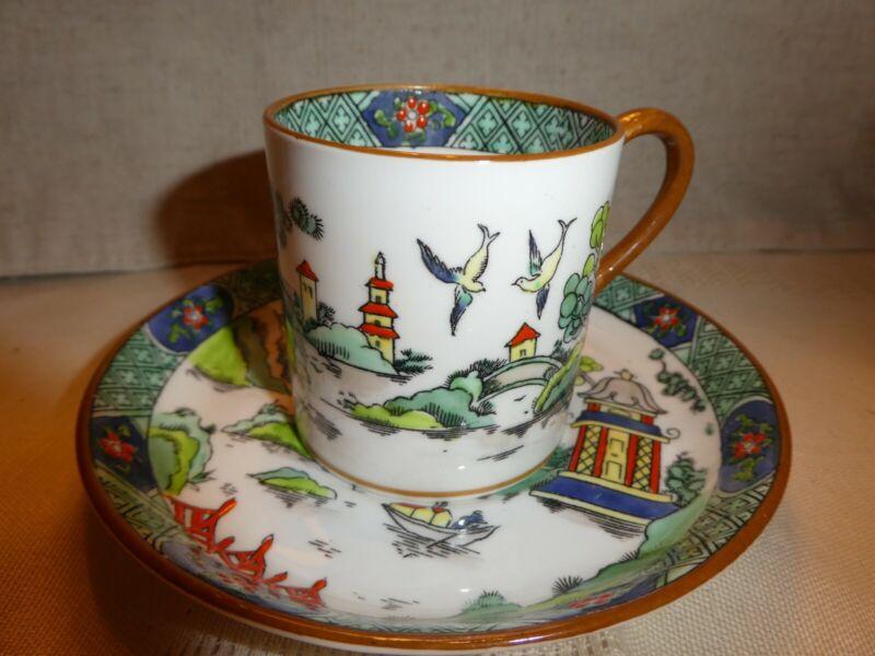 Antique Crown Staffordshire Fine Bone China Tea Cup & Saucer Teacup Duo
