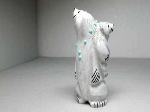 ZUNI FETISH F-3822 ANTLER MOTHER BEAR WITH CUB BY CLAUDIA PEINA