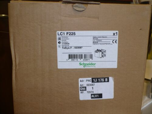 1 pc. Schneider Electric LC1 F225F7 Contactor, 225 Amp, 120V Coil, New