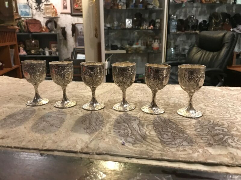 Vintage Silver Plated Silver Reposse Cordial Liquor Glass Set Of 6