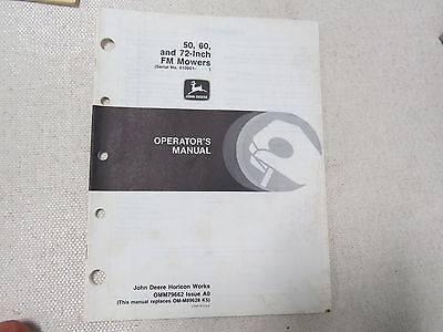 original John Deere 50 60 72 inch Front Mount Mower Riding Operator's Manual A0