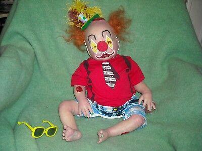 Zombo zombie clown bloated bloody sweet reborn baby artist OOAK doll hand made