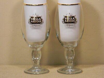 Gold Trimmed Stella Artois Glasses  Set of 2  33cl