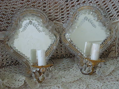EXQUISITE VINTAGE ITALIAN VENETIAN MURANO GLASS MIRRORED SCONCES PRISMS *SALE*