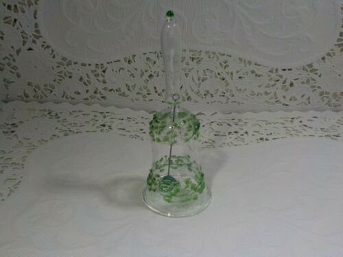 Extra Small Glass Bell & Clapper Clear Green Texture