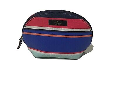 Kate Spade Dawn Medium Dome Cosmetic Makeup Bag Striped 5x7 Nylon Zipper