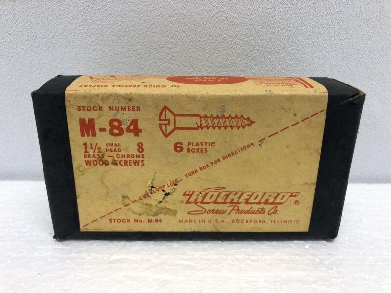 "Vintage 1.5"" Oval Head Brass-Chrome Wood Screws ROCKFORD Merchant Display Refill"