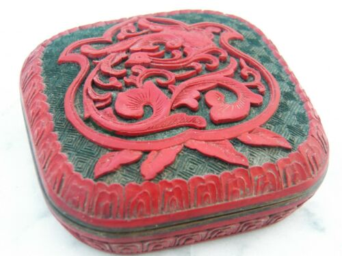 Antique Chinese Cinnabar Lacquer BOX w/Lid Carved Enamel-lined