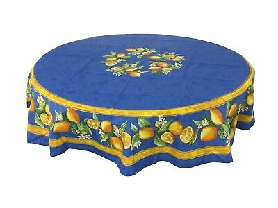 """French Provencal 100% Coated Cotton Tablecloth Lemons Blue Round 71"""" - France"""
