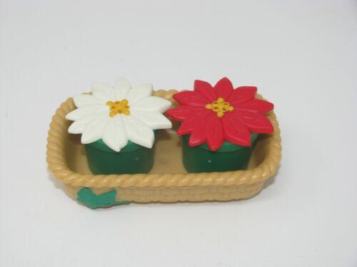 Vintage Plastic Christmas Poinsettia Flowers Salt & Pepper Shakers on Tray AVON